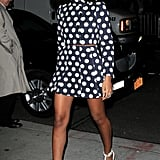 Solange Knowles paired a playful polka-dot coat dress with killer white t-strap pumps while outside the Ed Sullivan Theatre in NYC.