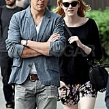 Emma Stone held onto her friend for a walk around NYC.