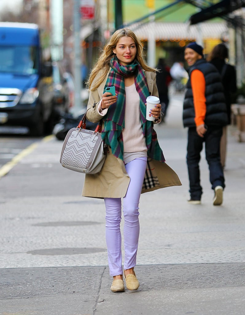 Jessica Hart's pastel-purple jeans added a jolt of Spring to her laid-back NYC ensemble. A checkered scarf, a Missoni bag, and yellow loafers served as equally eye-catching accessories.
