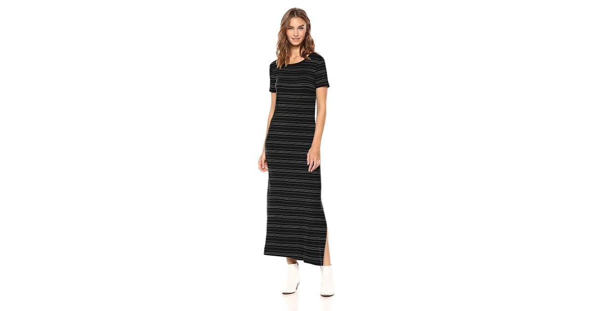 Rundhalsausschnitt Marke: Daily Ritual Damen-Jersey-Kleid lang/ärmlig T-Shirtkleid