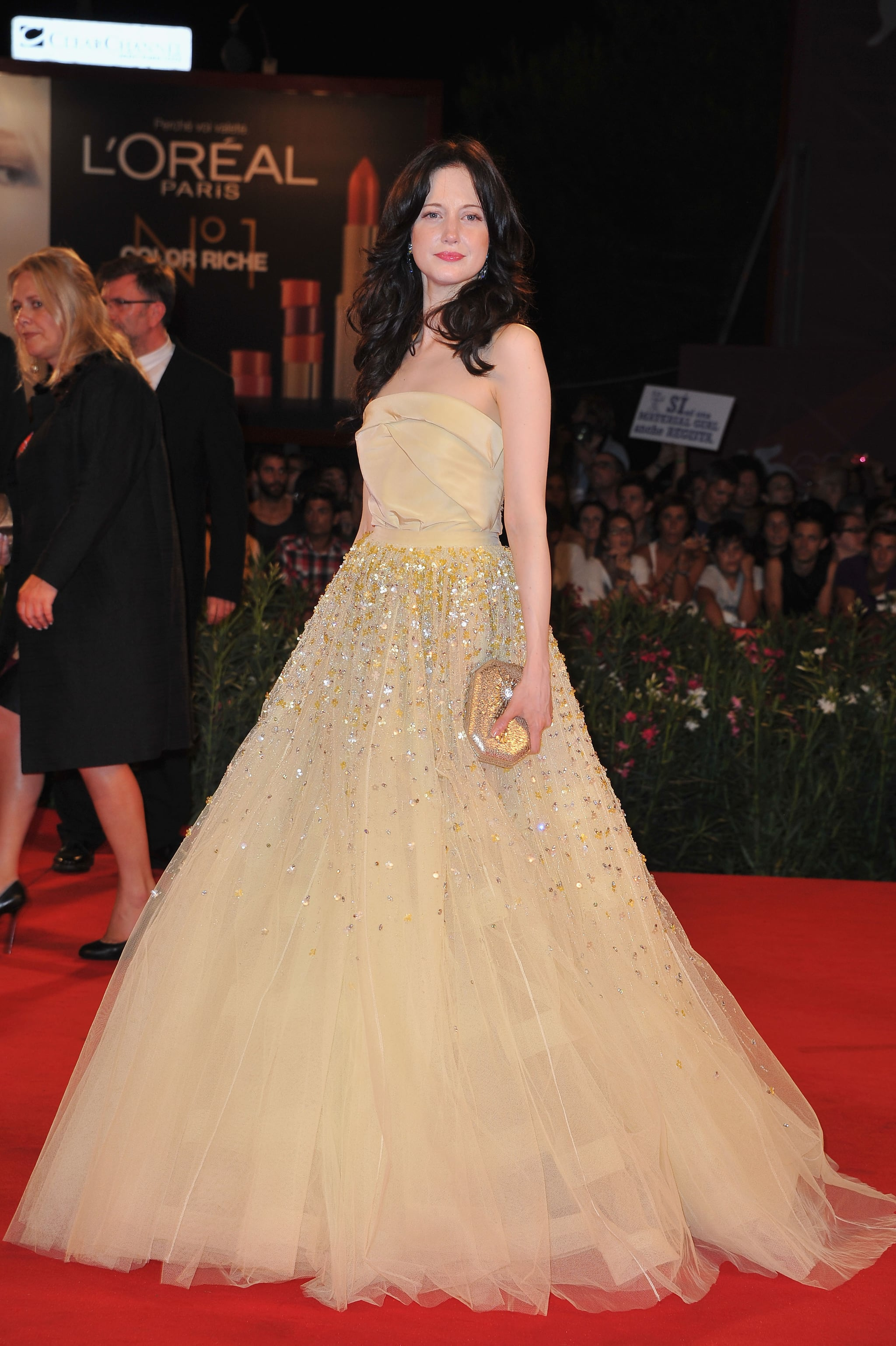 Andrea Riseborough glowed in Christian Dior couture.