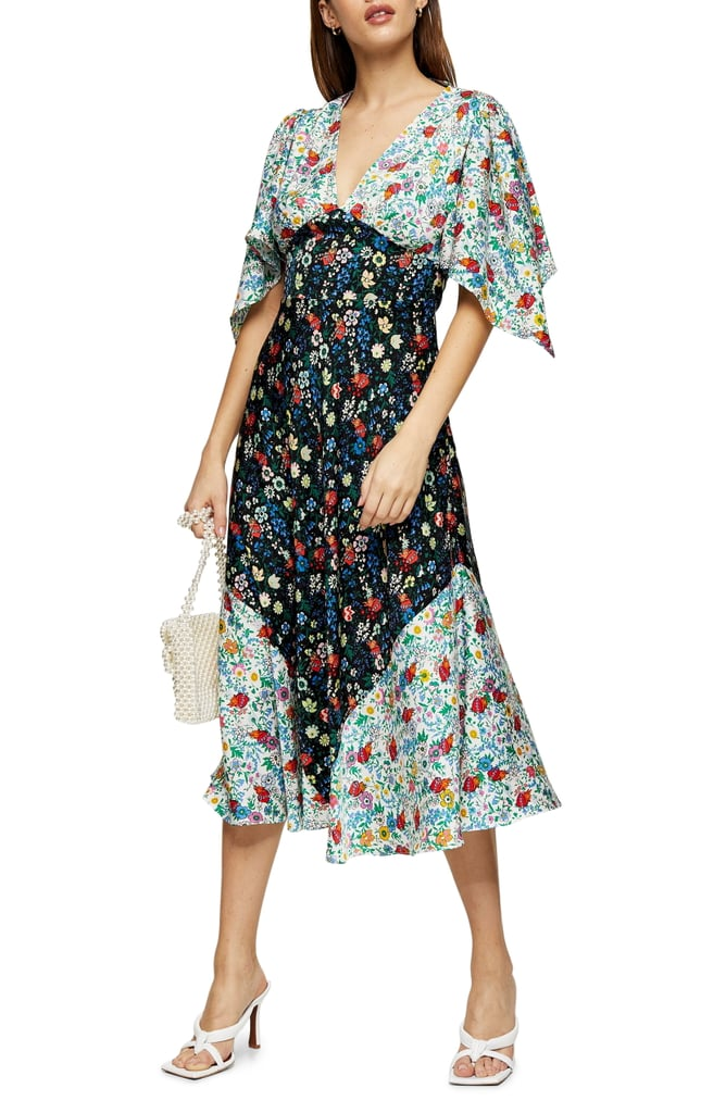 Topshop IDOL Mix Print Midi Dress