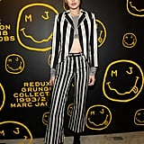 Gigi Worked Her Striped Marc Jacobs Suit From the Grunge Collection