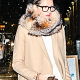 A simple coat got sophisticated in a hurry thanks to a fur snood.