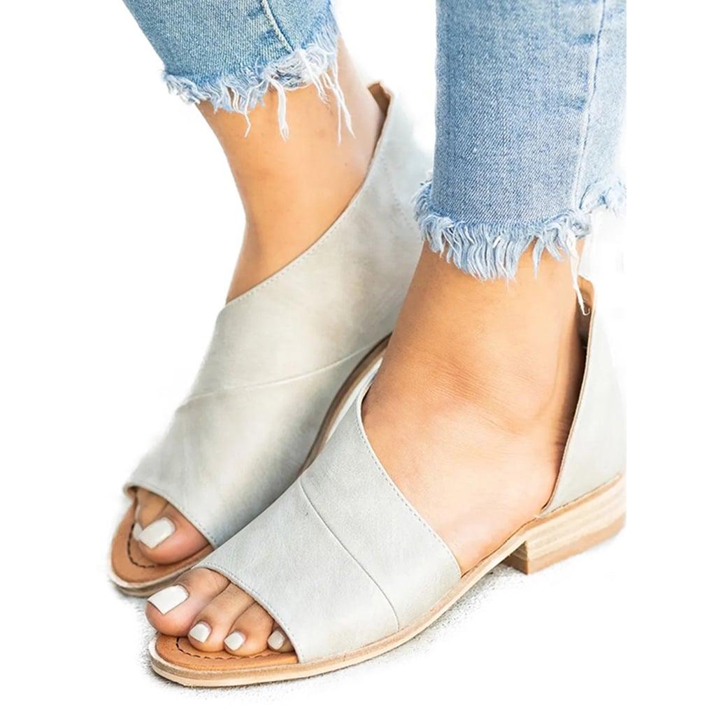 Peep Toe Low Heel Slip On Sandals