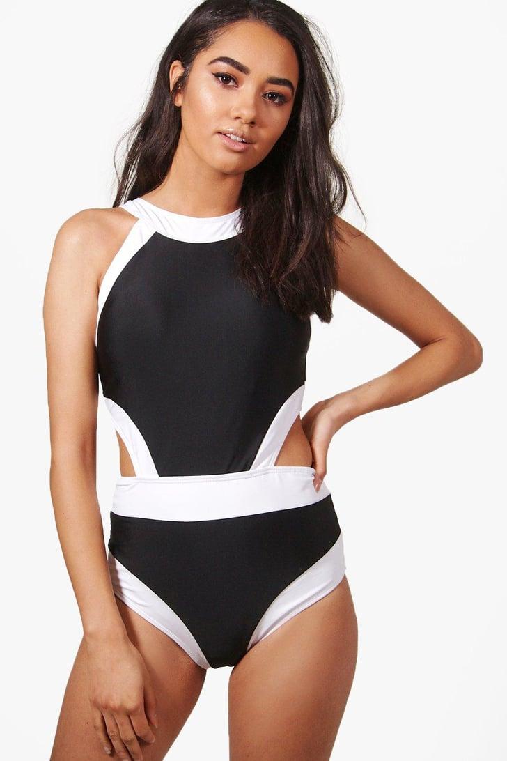 Boohoo Petite Zoe Colour Block Cutout Detail Swimsuit