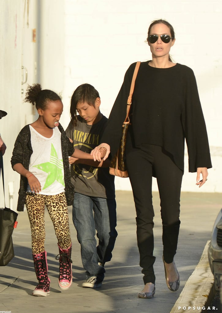 Angelina Jolie was accompanied by Zahara Jolie-Pitt and Pax Jolie-Pitt for a trip to Urban Outfitters in LA.