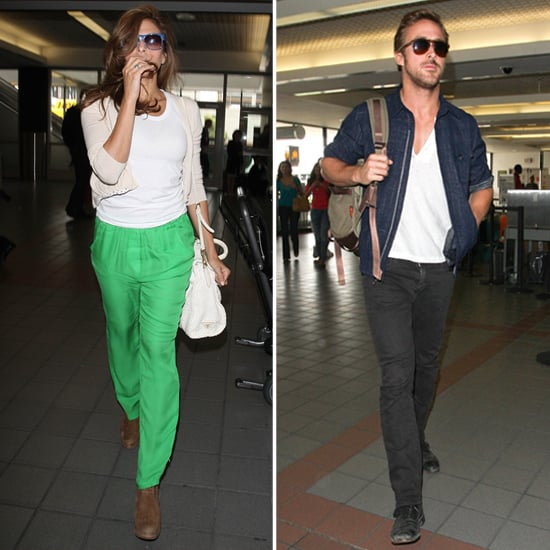 Ryan Gosling and Eva Mendes at LAX Pictures