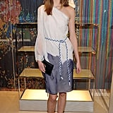 Karlie Kloss, who has been the face of Dior looked very demure in a skirt and one shoulder blouse.