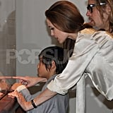 Angelina Jolie wears her engagement ring with son Pax.