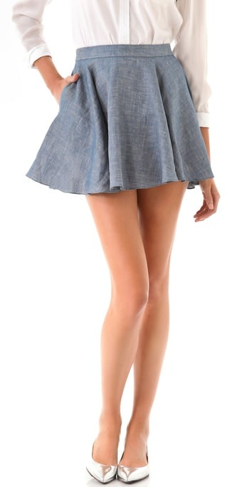 Shake up your denim routine with this girlie option in a chambray finish.  Jenni Kayne Flared Skirt ($295)