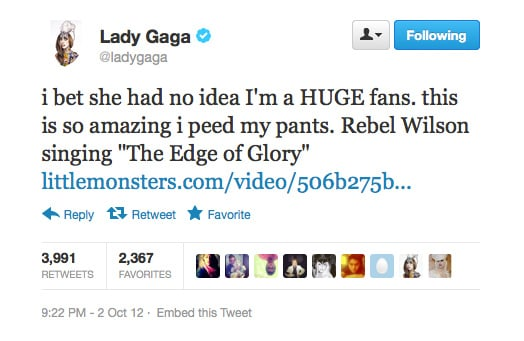 Looks like our own Rebel Wilson has a fan in Lady Gaga! Watch the clip she's talking about right here.