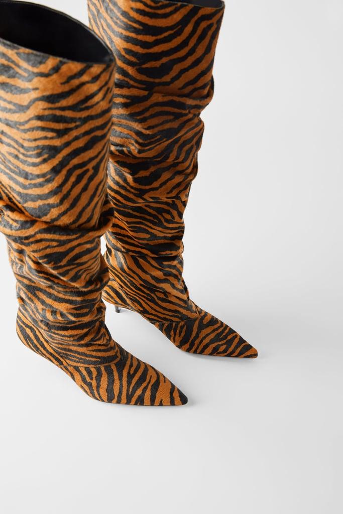 Zara Leather Animal Print Kitten Heel Boots