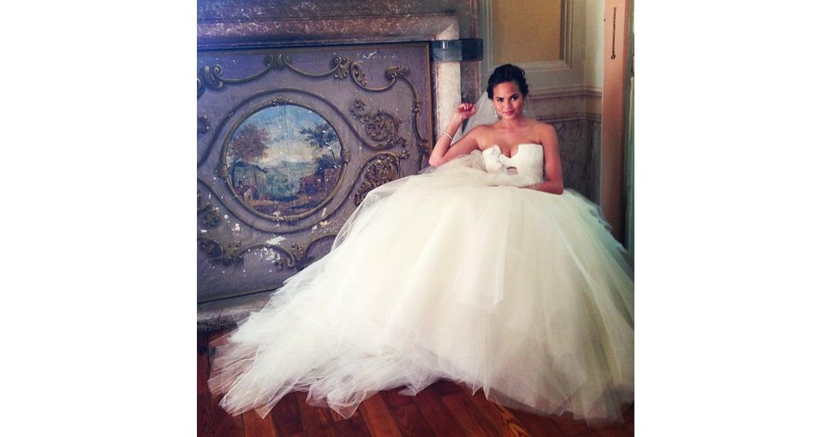 Chrissy Teigen\'s Vera Wang Gown | Famous Wedding Dresses | POPSUGAR ...