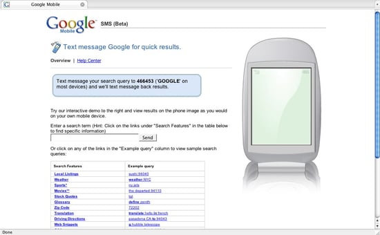 Text Message Google For Quick Info