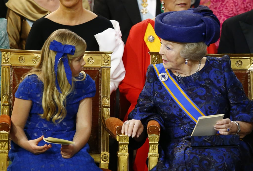 Princess Catharina-Amalia chatted with her grandmother Princess Beatrix.