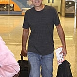 George Clooney arrived at the airport in Washington DC.