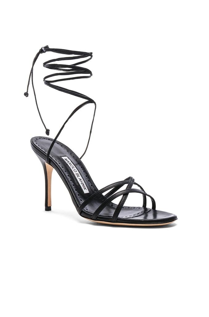 ff0b820d122 Our Pick  Manolo Blahnik Leather Leva 90 Sandals in Black Nappa ...
