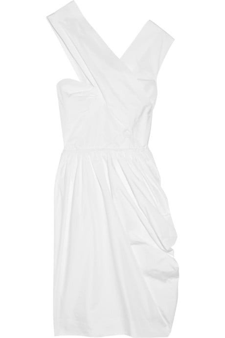 Sleek and minimalist, but still with that party-perfect hemline, this dress is ideal for a wedding in the city with its sophisticated, modern silhouette.  Carven Asymmetric Taffeta Dress ($380, originally $760)