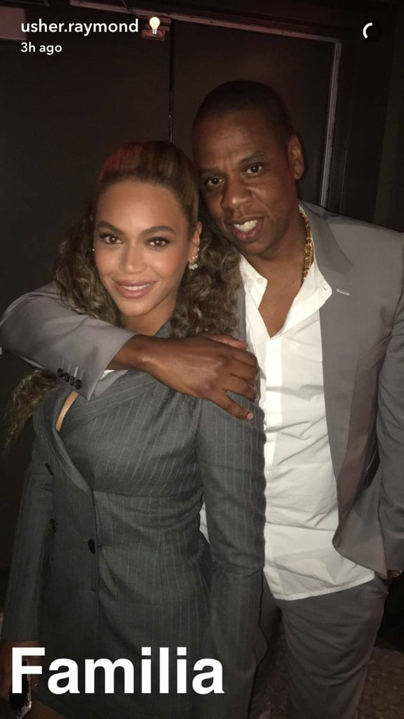 """Following their romantic Italian vacation, Beyoncé and Jay Z returned stateside and managed to sneak into the Hands of Stone premiere in NYC on Monday night. While the couple skipped the red carpet, Usher took to Snapchat to share a photo of the pair cuddled up backstage, writing, """"Familia."""" The following day, Beyoncé took to her blog and shared a couple photos of her outfit, as well as a cute snap of her and Jay Z. Usher has been friends with the power couple for quite some time now, and earlier this year, he posted a hilarious video of the trio hanging out at the Super Bowl, where Beyoncé killed it with her amazing performance.      Related:                                                                12 Celebrities Who Are Card-Carrying Members of the Beyhive                                                                   99 Celebrities You Should Be Following on Snapchat                                                                   46 Musicians You Need to Add on Snapchat Now"""