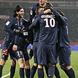 David Beckham celebrated Saint-Germain's win over Montpellier in Paris.