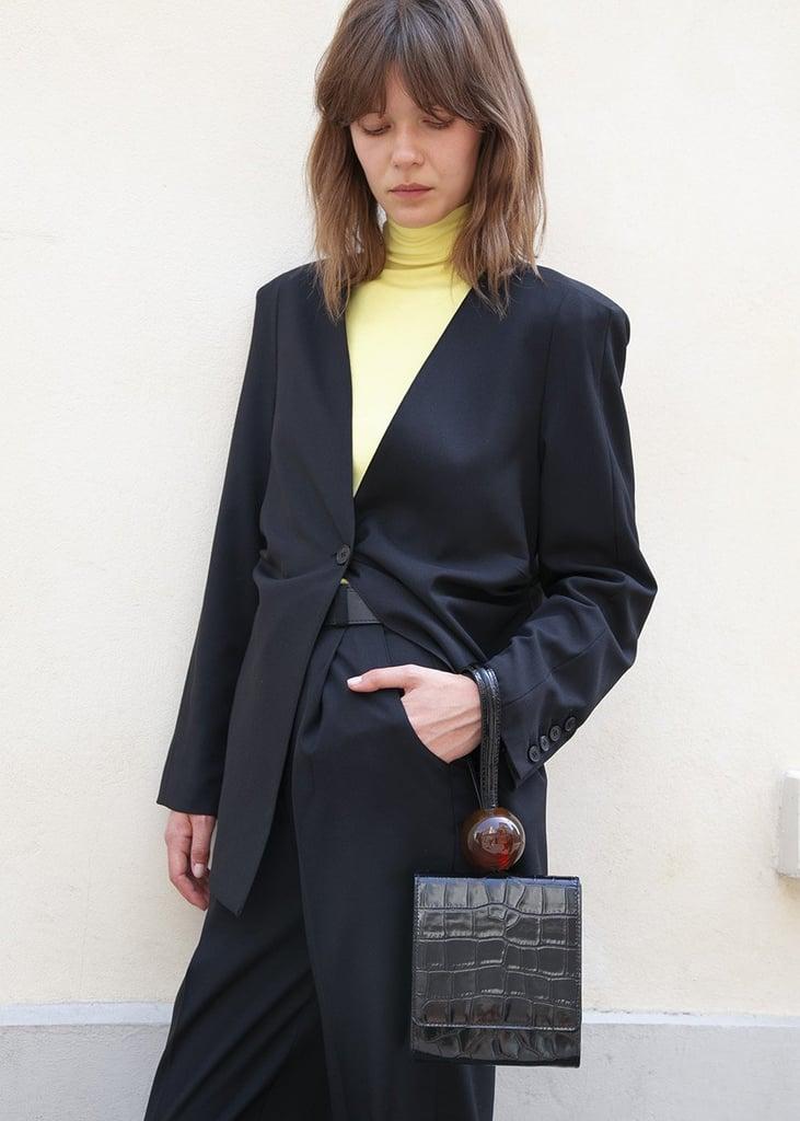 By Far Ball Clutch Bag in Black Croc Leather