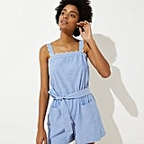 LOFT Beach Chambray Scalloped Tie Waist Romper
