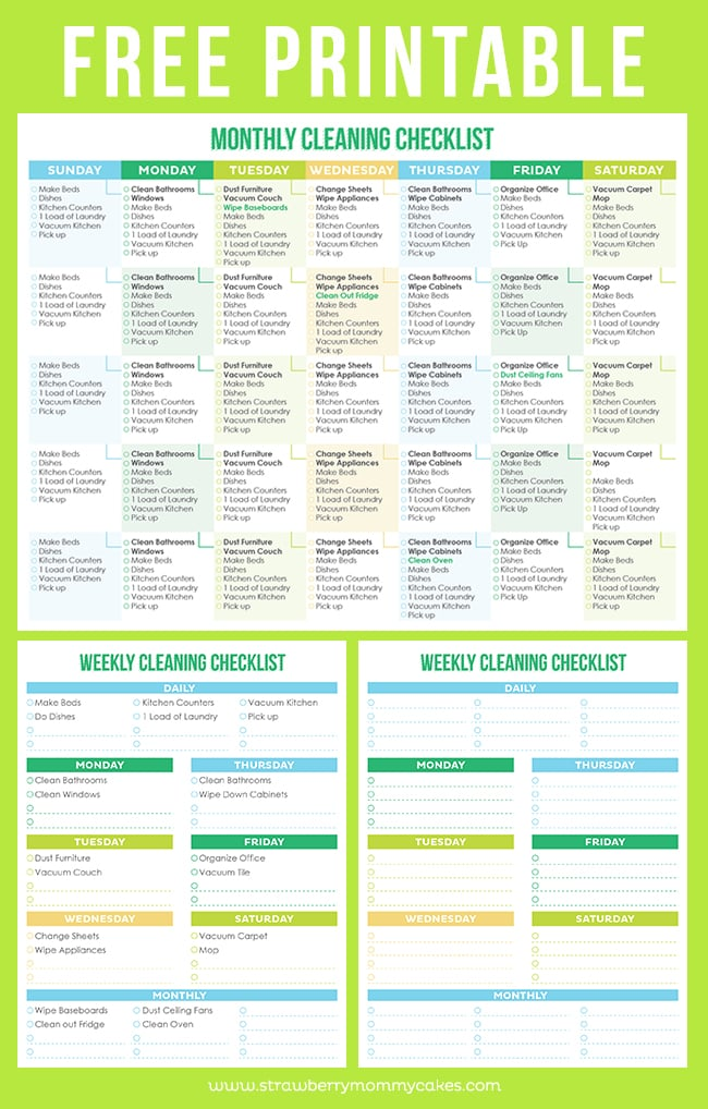 Download: Printable Crush Monthly/Weekly Cleaning Checklist | Free ...