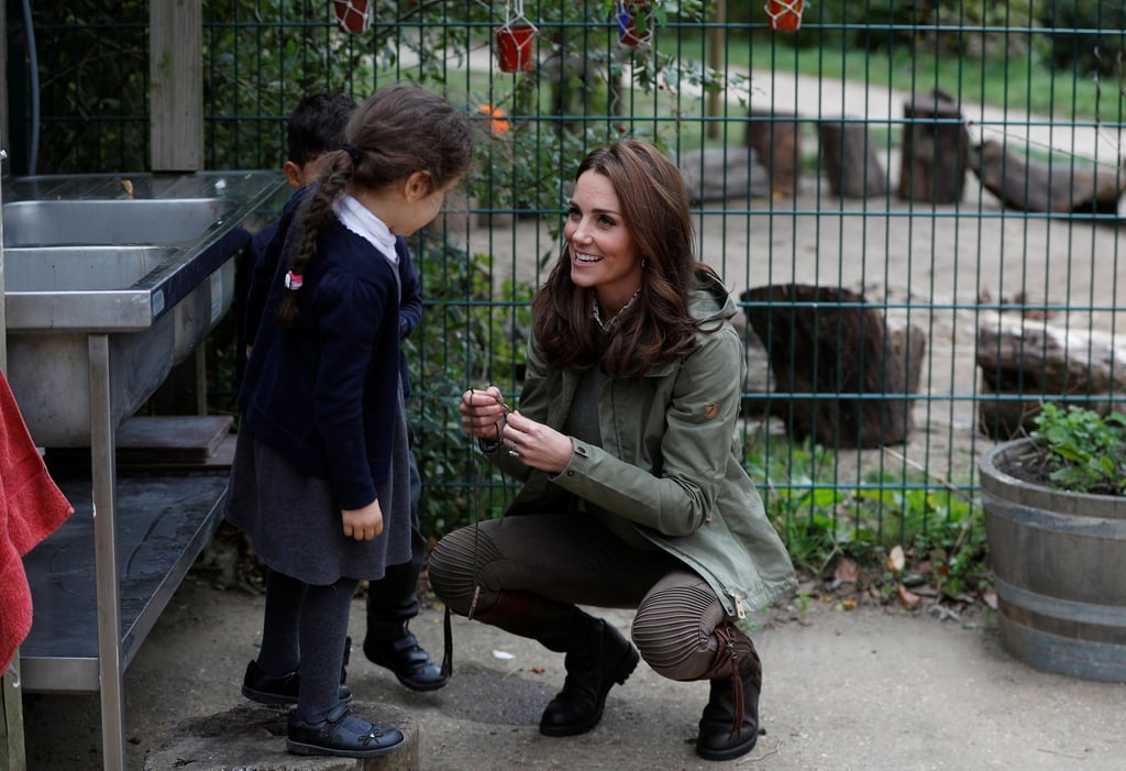 """Whether she's attending official events with Prince George and Princess Charlotte or she's mingling with schoolchildren during royal appearances, Kate Middleton certainly has a way with children. The duchess returned from maternity leave on Tuesday and immediately went into mom mode she visited Sayers Croft Forest School and Wildlife Garden in London. As the photographers snapped photos of Kate during her outing, a little girl asked why they were taking photos of her. Kate's adorable response? """"They're picturing you cause you're special!"""" Aww! Talk about making a little girl feel like a princess.  Of course, that wasn't the only sweet moment Kate shared with the schoolchildren. While sitting with a group of kids for story time, the mother of three couldn't help but let out a giggle as a little girl stared at her in awe during story time. Let's be real: we would have the same reaction if we sat next to the Duchess of Cambridge. See more from her latest appearance ahead.       Related:                                                                                                           Prince William and Kate Middleton's Family Is Just as Sweet as Their Royal Romance"""