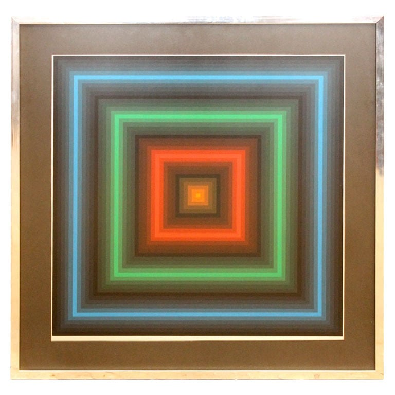 """This Geometric Op Art Screenprint ($825)  by Jurgen Peters is from the '70s and titled """"Nite Lites."""""""