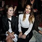 Jessica Alba sat in the front row with Ana Girardot for the Valentino presentation on Tuesday.