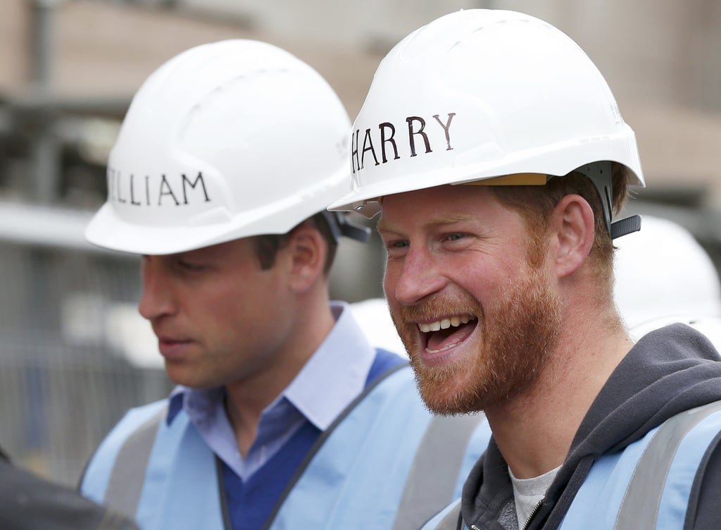 Prince William and Prince Harry helped renovate homes for Armed Forces veterans in Manchester on Wednesday. The brothers sported hard hats with their names on them for the event, which is part of a project for an upcoming episode of the BBC series DIY SOS. While Prince William picked up a roller to paint walls, Prince Harry paved slabs with a crew.  The brothers' work day comes less than a week after they made an appearance at the Rugby World Cup with the Duchess of Cambridge. Prince Harry, who recently celebrated his 31st birthday, serves as honorary president of England's rugby team, and he also attended a Rugby Welcome Party last week. Keep reading for all the best pictures of Will and Harry's outing, then check out their cutest moments together through the years.