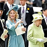 The queen was accompanied by Peter Phillips at Royal Ascot in 2019.