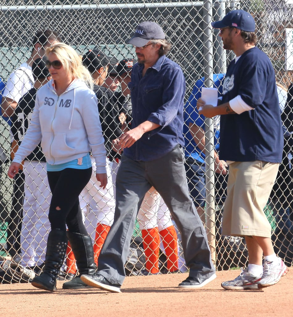 Britney Spears and Jason Trawick enjoyed a sunny afternoon at Sean Preston's Little League game in LA yesterday. It was the 5-year-old's second weekend in a row of being coached by his dad Kevin Federline. Brit briefly chatted with her ex, and it was apparently the first time the two have been photographed together since splitting in 2006. Kevin spent most of his time in the dugout with the team, while his girlfriend, Victoria Prince, watched. Britney's focusing on her boys Sean and Jayden in the run-up to the release of Femme Fatale on March 29. Two new tracks off the album leaked last week, and she'll soon head to San Francisco for a Good Morning America performance. Britney posed for a racy Out Magazine spread to help promote her record, but she is also using her status for good work by supporting Obama's antibullying campaign and tweeting her sympathy for everyone affected by the disasters in Japan. Her sister, Jamie Lynn, just joined the addictive social networking site and gave fans a peek into her personal life with a cute photo of her daughter Maddie.