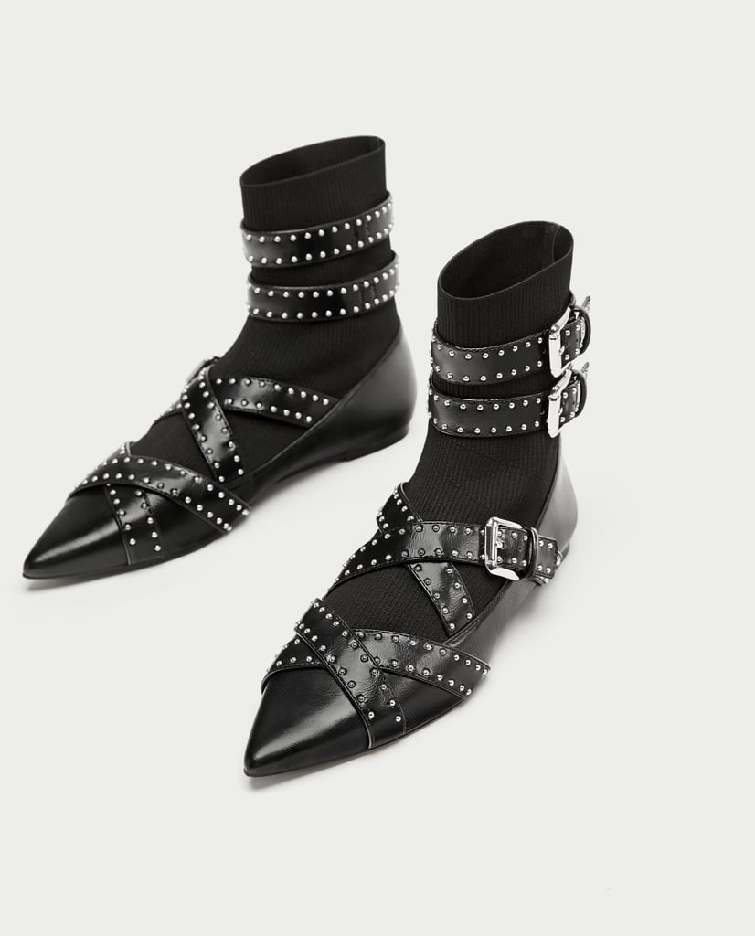 Zara Buckled Flat Sock Ankle Boots