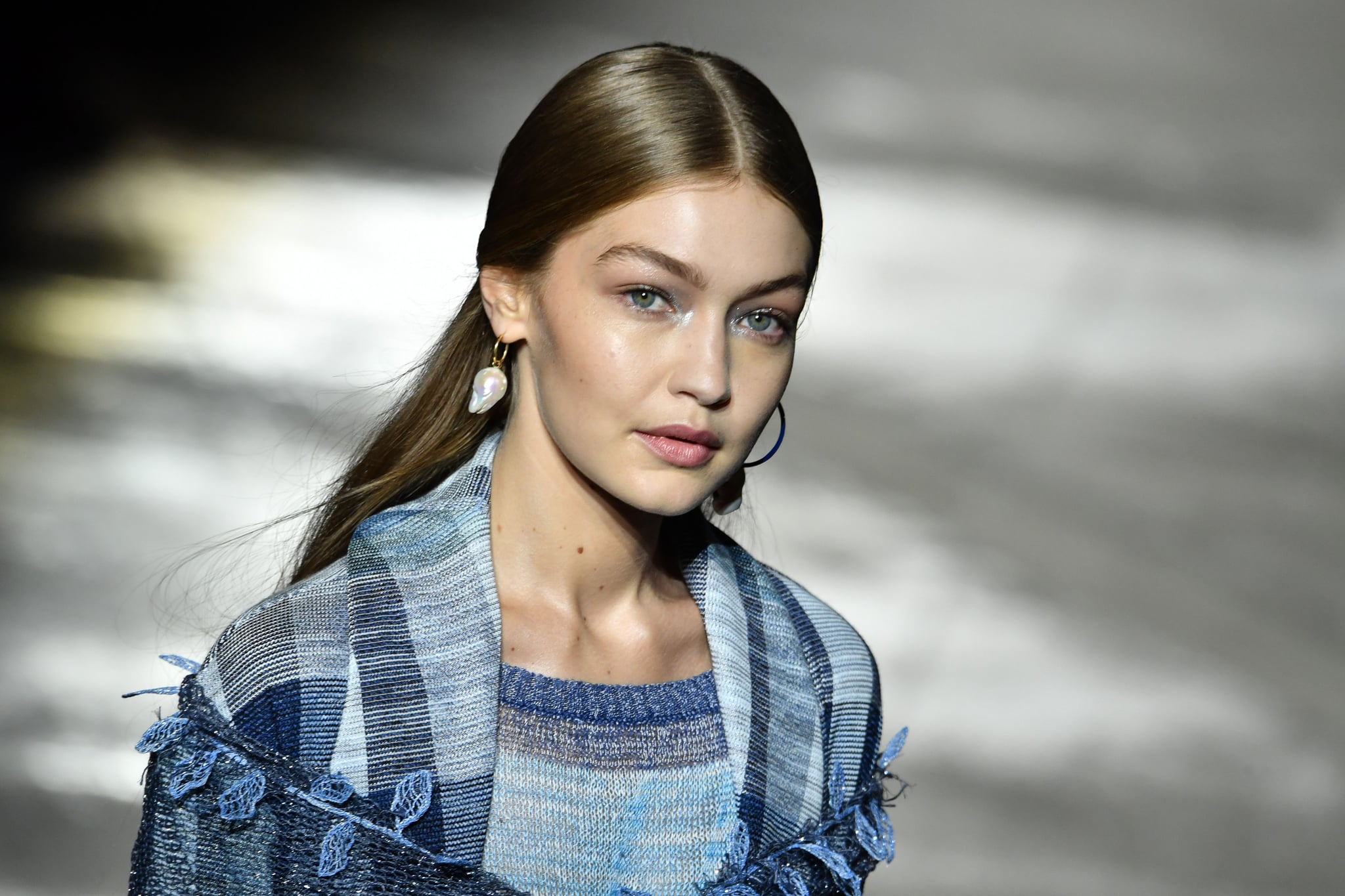 Model Gigi Hadid presents a creation during the presentation of the Missoni fashion show, as part of the Women's Spring/Summer 2019 fashion week in Milan, on September 22, 2018. (Photo by Andreas SOLARO / AFP)        (Photo credit should read ANDREAS SOLARO/AFP via Getty Images)