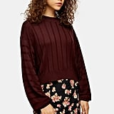 Topshop Burgundy Boxy Wide Ribbed Jumper