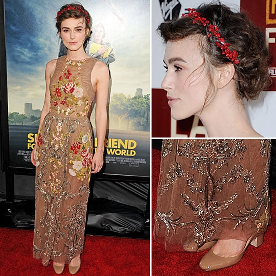 Pictures of Keira Knightley in Valentino Gown and Floral Headpiece at the Seeking a Friend For the End of the World Premiere