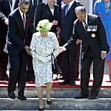 The following year, Mr. Obama was by the queen's side to commemorate the 70th anniversary of D-Day.