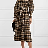 Ganni Belted Checked Seersucker Midi Dress