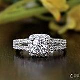 Etsy Halo Engagement Ring-Cushion Cut Ring