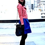 Playful colorblocking gave this skirt and jacket combo a Spring-ready twist.