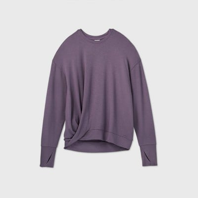 French Terry Twist-Front Crewneck Pullover