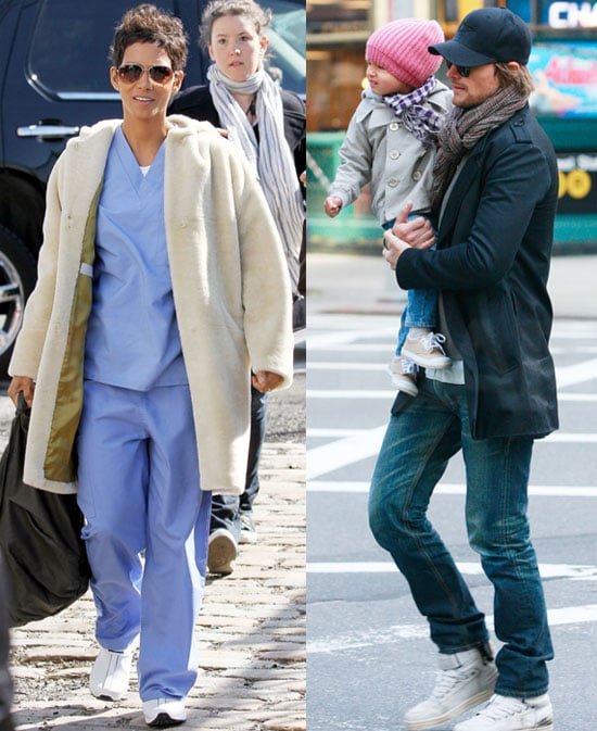 Halle Berry arrived to work on New Year's Eve today in NYC wearing hospital scrubs and aviator sunglasses. Meanwhile, Gabriel Aubry and Nahla went on a walk together in Manhattan. Halle and Gabriel appear to be coparenting despite their ongoing custody battle, which led to her giving up her first role in the film. She landed another one when she and Gabriel worked out a deal for him to come along to help take care of Nahla. The actress joined her costars Zac Efron and Michelle Pfeiffer, who have already been shooting the movie in Manhattan this month. Halle made her way east after attending this weekend's NAACP Image Awards in LA in a sexy, slit Pucci dress. She was also one of Fab's picks for best dressed on the red carpet at the Oscars. In fact, Chuck star Zachary Levi told us he had to remind himself not to stare right at Halle when he took the stage to sing with Mandy Moore at the Academy Awards!