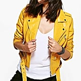 Boohoo Leah Boutique Belted Faux Leather Biker Jacket