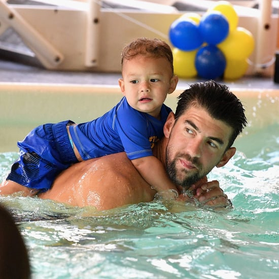 Michael Phelps Swimming With Son Boomer August 2017