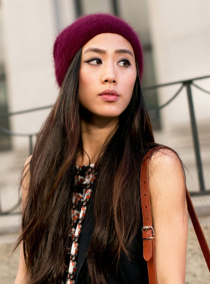 Long strands topped with a beanie look even better with a soft smoky eye.