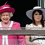 Queen Elizabeth and Princess Eugenie enjoyed themselves at the 2011 Epsom Derby.