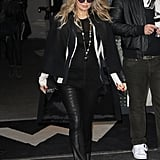 Fergie made her way to a fashion show in Paris in February.