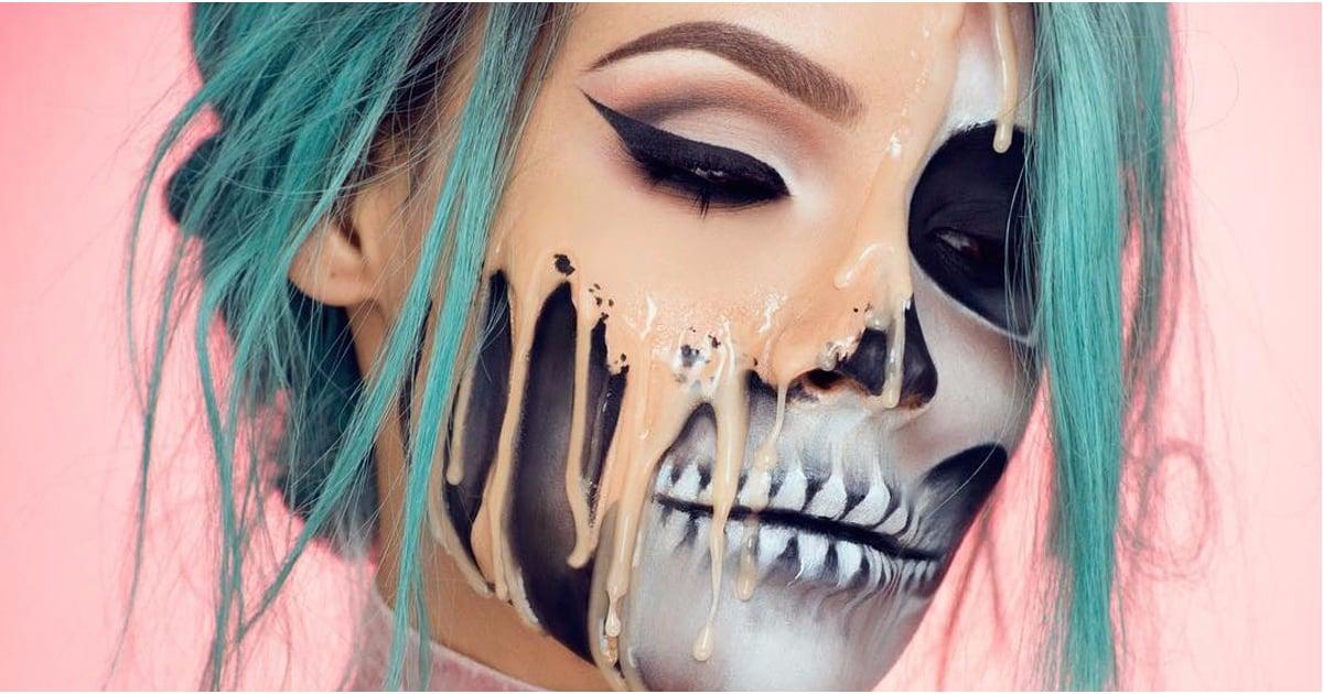 Melting Skull Halloween Makeup Tutorial Popsugar Beauty